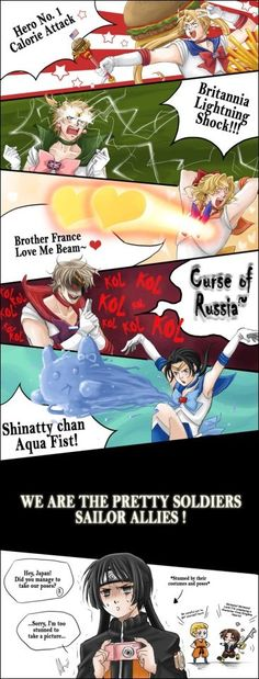 And then there's germany as goku and italy as the one guy from kingdom hearts....
