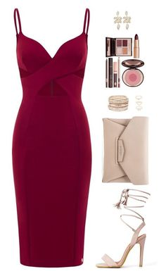 watch out! sexy vixen is those curvy lovin' red dress featuring moda, Givenchy, Charlotte Russe y Charlotte Tilbury Lila Outfits, Dressy Outfits, Mode Outfits, Night Outfits, Chic Outfits, Sexy Outfits, Date Night Outfit Classy, Fashionable Outfits, Crimson Dress