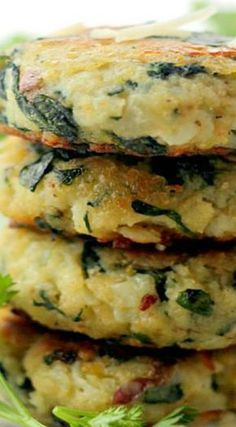 Spinach and Garlic Potato Patties