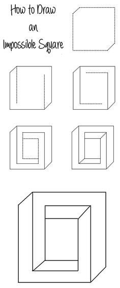 How to Draw an Impossible Square Illusion – www.c… How to Draw an Impossible Square Illusion – www. Illusion Kunst, Illusion Drawings, Cool Art Drawings, Easy Drawings, Optical Illusions Drawings, How To Draw Illusions, Optical Illusion Art, Illusions Mind, Amazing Optical Illusions
