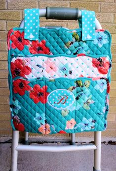 Walker Caddy Walker Bag - Wheelchair Bag FREE Monogram Personalization - 4 Fabric Choices Washable - Nursing Home - Assisted Living Walker Accessories, Wheelchair Accessories, Bag Accessories, Patchwork Bags, Quilted Bag, Nursing Home Gifts, Nursing Homes, Caddy Bag, Bag Pattern Free