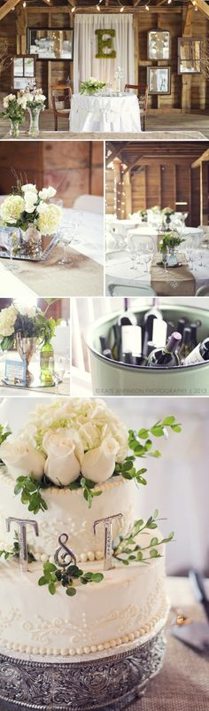 romantic, country chic wedding // old rustic barn venue // moss covered monogram letter // antique mirrors and vintage inspired silver decor // white roses and hydrangeas // floral table centerpieces // elegant wedding cake
