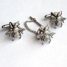 Silver Bumblebee Cufflinks Tie Tack, Men's Bee Fly Cuff Links Set- Wedding Groom #Handmade