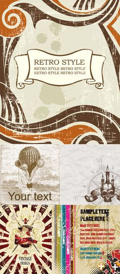 vector | Vector Vintage Retro Style Backgrounds | Free Vector Graphics  Art ...