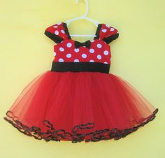 MINNIE MOUSE dress TUTU  Party Dress  in Red Polka Dots super twirly  dress 1st Birthday party via Etsy