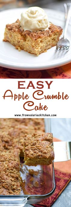 A super moist cake that is studded with apples and topped with a walnut streusel. Serve this Apple Crumble Cake with ice cream for dessert and eat the leftovers with breakfast the next morning! Apple Dessert Recipes, Cake Mix Recipes, Apple Recipes, Cupcake Recipes, Delicious Desserts, Crockpot Recipes, Easy Apple Crumble, Apple Crumble Cake, Fun Easy Recipes