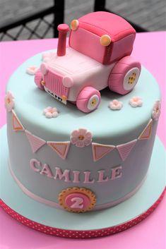 Farm tractor birthday cake