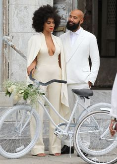 Solange Knowles and Alan Ferguson real wedding. Backless ivory-toned jumpsuit by look by Stephane Rolland. Solange Knowles and Alan Ferguson real wedding Stephane Rolland, Black Love, Black Is Beautiful, Beautiful Bride, Beautiful Couple, Celebrity Wedding Dresses, Celebrity Weddings, Celebrity Couples, Celebrity News