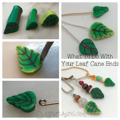 Ever wondered what to do with the ends of your leaf canes? Here's a simple tutorial to use with your leaf cane scraps of polymer clay. Make simple pendants. Easy Polymer Clay, Polymer Clay Canes, Metal Clay Jewelry, Precious Metal Clay, Paper Clay, Air Dry Clay, Clay Tutorials, Cold Porcelain, Clay Creations