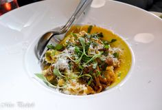 Buttered Maltagliati with Duck and Porcini Ragu, buttercup & pickled black walnuts –
