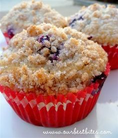 These are the BEST streusel-topped blueberry muffins ever! Made with juicy blueberries, fresh lemon zest, and topped with cinnamon streusel! Best Blueberry Muffins, Cranberry Muffins, Blue Berry Muffins, Blueberry Breakfast, Breakfast Cake, Blueberry Recipes, Breakfast Muffins, Muffin Recipes, Breakfast Recipes