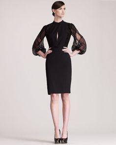 Teardrop-Sleeve Dress by Fendi at Neiman Marcus.