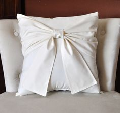 Cream Bow Pillow -Decorative Pillow-. $32.00 USD, via Etsy.