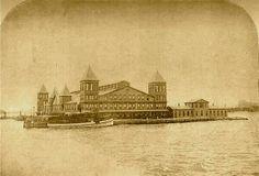 Twitter-Original wooden Ellis Island immigration station, Opened 1892, burned 1897