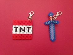 Hama Bead 'Minecraft' themed designs with lobster style key rings. Price is per keyring and the choices so far are:- * Steve * Creeper * Cow * Pig * Sheep * Diamond Sword * TNT Other designs to follow. Discounts available for bulk orders, ideal for party bags. Please allow up to 5 working days. Posted Royal Mail 2nd Class – Deliver to the UK only – multiple items can be ordered with combined postage – please contact me for further details. £1.50 + 50p P&P