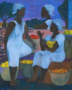 """The Market Women"" by Mari Hall (dedicated to Haitian women) African American Art, African Art, Folk, Haitian Art, Caribbean Art, American Quilt, Artist Art, Black Art, Traditional Art"