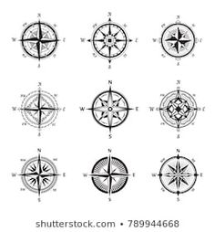 isolated vintage or old compass rose icons. sea or ocean navigation compass for ocean or sea boat or ship. may be used for retro cartography icon or traveler compass sign adventure rose Mandala Compass Tattoo, Compass Art, Compass Icon, Compass Rose, Wind Rose, Vintage Compass, 4 Tattoo, Wood Patterns, Graphic Design Illustration