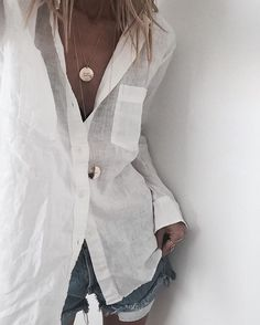 white + gold + denim // our new 'Coin Necklace' layered up ■ □