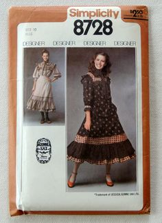 1970s Simplicity Pattern 8728  Gunne Sax Design  by GertAndElmer, $12.00
