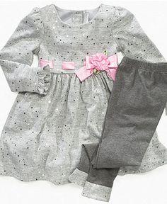 Sweet Heart Rose Kids Set, Little Girls Ribbon Dress and Leggings - Kids Sets - Macy's