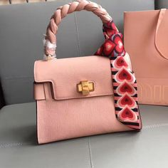 331408facae Miu Miu Madras Goat Leather Top Handle Bag With With Braid Handle Pale Pink  2017     Real Purse