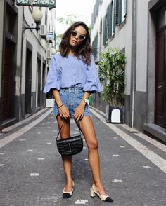 Le Fashion Blog Balloon Sleeves Denim Shorts Cap Toe Flats Black Mini Bag Via…