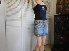 Patchwork Jean Skirt Mini Lace Material Boho by LandofBridget