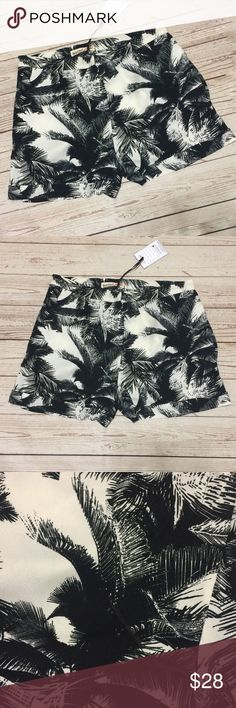 """NWT So Rad Palm Print High Waisted Shorts Soft, silky and comfortable palm leaf printed shorts by So Rad. (Boutique brand). Cream background and black print. High Waisted and super flattering fit. Pockets at each hip. Zip fly with hook closure. Cuffed hems. Flawless NWT condition.   Measurements lying flat: * Waist: 15"""" across * Rise: 10"""" * Inseam: 3"""" SoRad Shorts"""