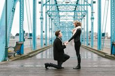 Michael and Alexandra's Chattanooga Tennessee Walnut Street Bridge surprise proposal.