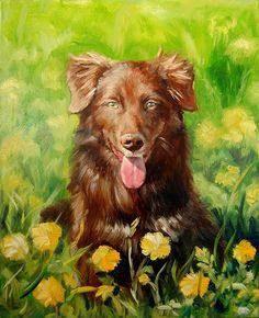 Custom pet portrait. Original oil painting. Dog portrait. Pet