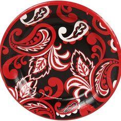 8-Pack Paisley Dessert Plate - Black/Red for girl's game night.