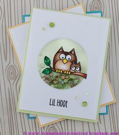 Hero Arts Lil Hoot Stamp Set, Simon Says Stamp Bundle of Stitched Shapes Die, Simon Says Stamp Stitched Circle Die, Copic, Lucy's Card Sequin Shaker Mix, Kennedy Grace Creations Sequins Shaker Mix #heroarts #lilhoot #kennedygracecreations #copic #shaker #simonsaystamp #sititchedcircle #partialdiecutting