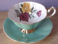 Antique Queen Anne china tea cup and saucer set by ShoponSherman,