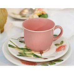 Aparelho de Jantar e Chá 30 Peças Rosa Bela - Biona/Oxford - Mouratem