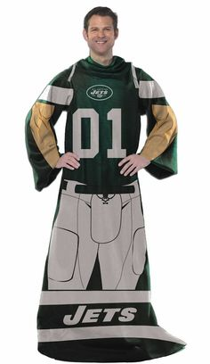 New York Jets Comfy Throw Blanket With Sleeves - Player Style