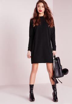 Missguided - Pocket Front Jumper Dress Black