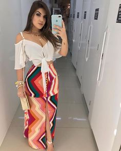 Beautiful colorful maxi and top Hijab Fashion, Girl Fashion, Fashion Dresses, Womens Fashion, Fashion Design, Fashion Trends, Dresses For Teens, Casual Dresses, Trendy Outfits