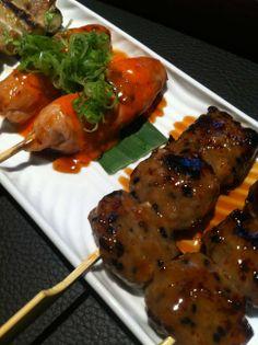 Yakitori: chicken & chilli and chicken tsukune at Sticks'n'sushi, Covent Garden - http://www.squaremeal.co.uk/restaurants/london/view/117397/Sticks_'n'_Sushi