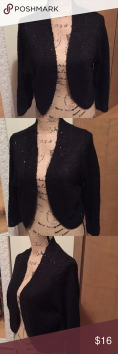 Dressy cardigan Ladies black short dressy cardigan. Size XLG, can fit Large as well. Sparkling sequins in sweater material. Would look Gorgeous over a dress or lacy tank. New with tags! ✨ NY Collection Sweaters Cardigans