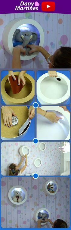 Faça você mesmo um Nicho redondo com lâmpada para decorar, diy, do it yourself Diy Crafts To Sell, Home Crafts, Cardboard Crafts, Paper Crafts, Diy Bedroom Decor, Nursery Decor, Diy For Kids, Crafts For Kids, Do It Yourself Decoration