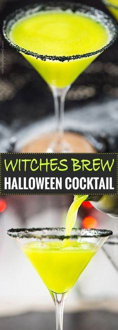 Witches Brew Halloween Cocktail | Sweet and mysterious, this Halloween cocktail practically glows with an eerie greenish color! Made with just 3 simple ingredients, it's a must make for any party! | https://www.the5oclockchef.com | #cocktail #halloween #witch #partydrink #midori