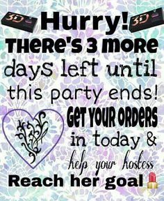 3 more days until the party ends! Get your orders in Younique Images, Younique Party Games, Makeup Quotes Funny, Younique Presenter, Facebook Party, Mascara Tips, Party Makeup, Face Care, Skin Care