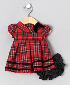 Red Plaid Dress & Diaper Cover - Infant
