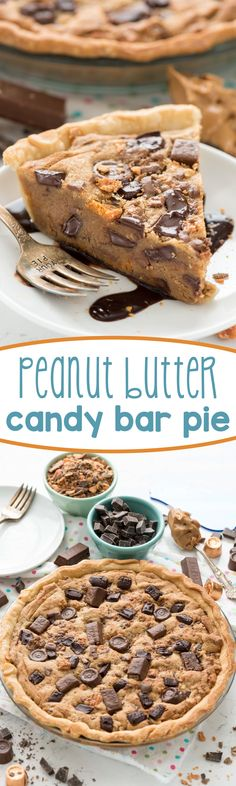 Peanut Butter Candy Bar Pie - this easy peanut butter cookie pie recipe is filled with candy bars! It's a giant cookie with a crust - heaven!