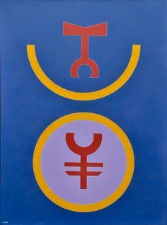 """RUBEM VALENTIM - """"Emblema 86"""", O.S.T, assinado no verso e datado de 1986. Localizado em Bras"""