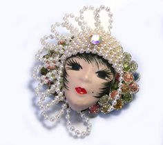 Upcycled Assemblage Handmade Lady Face Brooch by LizonesJewelry