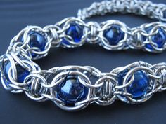 Blue Cosmos series necklace: 9 captivated stars on Etsy, $183.59 #chainmaille