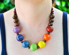 Fair Trade Pride Necklace - Kazuri Bead Rainbow Necklace - Wood Bead LGBT Necklace - Pride Jewelry LGBT Jewelry - African Rainbow Jewelry recycled jewellery recycled jewelry upcycled jewellery upcycled jewelry ethical jewellery ethical jewelry