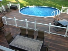 Above ground pools have always been the best and the cheapest option to build swimming pool. Here's the reason why you should invest in above ground pool rather than in-ground ones. We have above ground pool tips and ideas. Above Ground Pool Fence, Best Above Ground Pool, Above Ground Pool Landscaping, Backyard Pool Landscaping, Landscaping Ideas, Backyard Ideas, Deck Ideas For Above Ground Pools, Oval Above Ground Pools, Acreage Landscaping