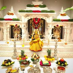 Varalakshmi Pooja Decoration in Big Puja Room Festival Decorations, Flower Decorations, Wedding Decoration, Kalash Decoration, Temple Design For Home, Silver Pooja Items, Housewarming Decorations, Mandir Design, Pooja Mandir